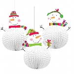 3 Hanging Decorations Joyful Snowman 3D 20.3 cm