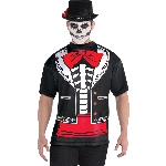 Disfraz Acc Day of the Dead Men's Printed T-Shirt - Talla Adult XL