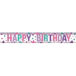 Banderin Pink Happy Birthday Holographic Foil 2.7m