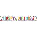 Banderin Multi Colour Happy Birthday Holographic Foil 2.7m