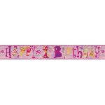 Banderin Happy 1st Birthday Girl Holographic Foil 2.7m