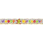 Banderin Happy 3rd Birthday Holographic Foil 2.7m