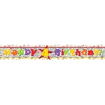 Banderin Happy 4th Birthday Holographic Foil 2.7m