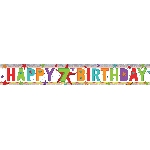 Banderin Happy 7th Birthday Holographic Foil 2.7m