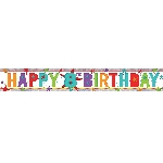 Banderin Happy 8th Birthday Holographic Foil 2.7m