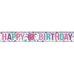 Banderin Happy 18th Birthday Holographic Foil 2.7m