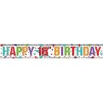 Banderin Multi Colour Happy 18th Birthday Holographic Foil 2.7m