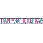 Banderin Pink Happy 21st Birthday Holographic Foil 2.7m
