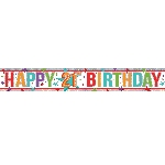 Banderin Multi Colour Happy 21st Birthday Holographic Foil 2.7m