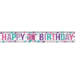 Banderin Pink Happy 30th Birthday Holographic Foil 2.7m