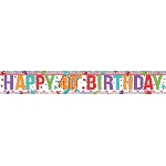 Banderin Multi Colour Happy 40th Birthday Holographic Foil 2.7m