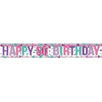 Banderin Pink Happy 50th Birthday Holographic Foil 2.7m
