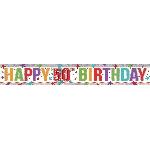 Banderin Multi Colour Happy 50th Birthday Holographic Foil 2.7m