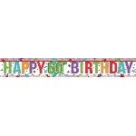 Banderin Multi Colour Happy 60th Birthday Holographic Foil 2.7m