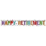 Banderin Happy Retirement Holographic Foil 2.7m