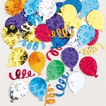 Confeti Party Balloons Multi Coloured Embossed Metallic 14g