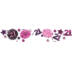 Confeti Pink Sparkling Celebration 21st 3 Pack Value 34g
