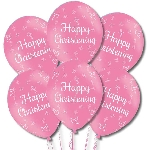 Globos Happy Christening Pink Latex Balloons 11''/27.5cm