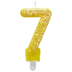 Vela Glitter Birthday Number 7 Yellow 7.6cm