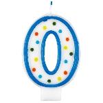 Vela Polka Dot Birthday Number 0 - 7.5cm