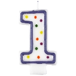 Vela Polka Dot Birthday Number 1 - 7.5cm