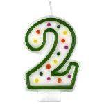 Vela Polka Dot Birthday Number 2 - 7.5cm