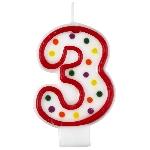 Vela Polka Dot Birthday Number 3 - 7.5cm