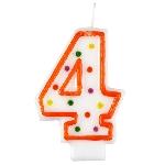 Vela Polka Dot Birthday Number 4 - 7.5cm