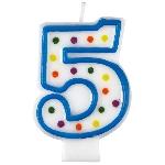Vela Polka Dot Birthday Number 5 - 7.5cm