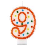 Vela Polka Dot Birthday Number 9 - 7.5cm
