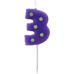 Vela Dots & Stripes Birthday Number 3 - 4.5cm
