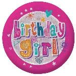 Chapa Happy Birthday Girl Holographic 5.5cm