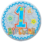 Chapa Happy 1st Birthday Boy Holographic 5.5cm