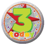Chapa Happy 3rd Birthday Holographic 5.5cm