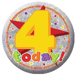 Chapa Happy 4th Birthday Holographic 5.5cm