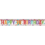 Banderin Multi Colour Happy 70th Birthday Holographic Foil 2.7m