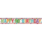 Banderin Multi Colour Happy 00th Birthday Holographic Foil 2.7m