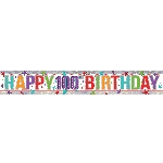 Banderin Multi Colour Happy 100th Birthday Holographic Foil 2.7m