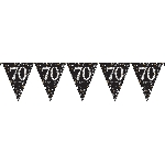 Banderin Gold Sparkling Celebration 70th Plastic Bunting 4m x 20cm