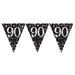 Banderin Gold Sparkling Celebration 90th Plastic Bunting 4m x 20cm