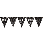 Banderin Gold Sparkling Celebration 100th Plastic Bunting 4m x 20cm