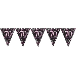 Banderin Pink Sparkling Celebration 70th Plastic Bunting 4m x 20cm