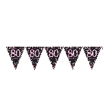 Banderin Pink Sparkling Celebration 80th Plastic Bunting 4m x 20cm