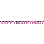 Banderin Pink Sparkling Celebration 80th Happy Birthday Prismatic Letter2.13m x 17cm