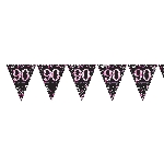 Banderin Pink Sparkling Celebration 90th Plastic Bunting 4m x 20cm