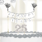 Vela Sparkling Silver Anniversary Cake Decorations 25
