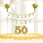 Vela Sparkling Golden Anniversary Cake Decorations 50