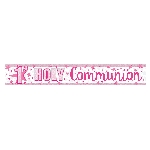 Banderin First Holy Communion Holographic Pink 2.7m