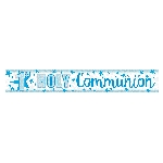 Banderin First Holy Communion Holographic Blue 2.7m