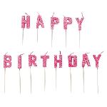 Vela Pink Happy Birthday Pick Glitter